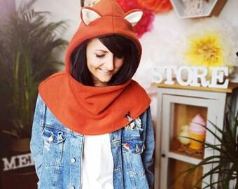 "MEKO® ""Foxy"" hooded cap, fox beanie cap with ears animal cap"
