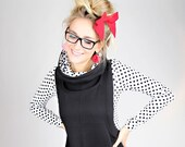 MEKO quot holle quot Latzkleid Ladies long sleeve black white dots hood dress mini dress Hoodie