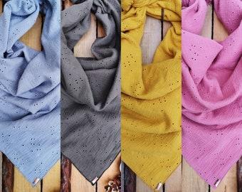 MEKO® muslin cloth with hole embroidery, color choice, flower motif, ladies khaki yellow raspberry light blue