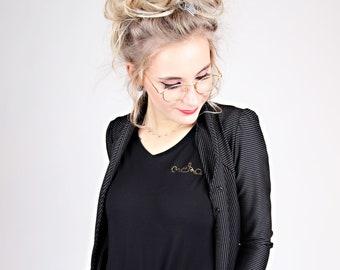 """MEKO® """"Cardy"""" Noble Jersey Blazer Black Pinstripe Cardigan Women's Blazer Jacket"""