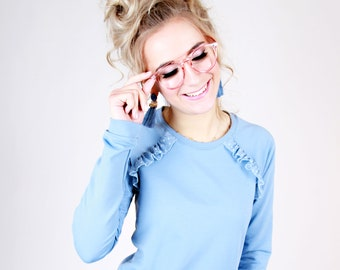 """MEKO® """"Zeila"""" Raglan sweater with ruffles ladies light blue long sleeve sweater sweater sweater"""