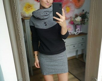 """MEKO® """"Flory"""" dress with hood, ladies, black and anthracite, long sleeve"""