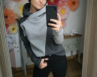 """MEKO® """"Marlekin"""" fluffy hoodie for women in anthracite and grey melange, oversize long-sleeved hoodie"""