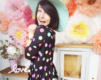 "MEKO® ""Gypsy"" Dress with Colorful Dots, Ladies, Black, Boho Rockabilly Mini Dress Festival Look Hanging"