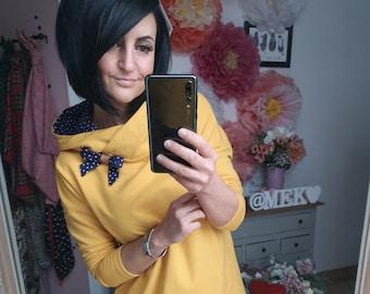"MEKO® ""Manchot"" Hoodie Dress Women's Yellow Blue Dots Dots Oversize Long Sleeve Hoosweater Longhoodie"