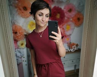 "MEKO® ""Bellybow"" shirt dress made of light sweat with waist pull, ladies, Marsala, short sleeve T-shirt teedress"