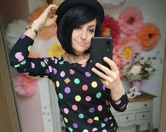 """MEKO® """"Lolovy"""" Longsleeve with colorful dots, ladies, black, round neck"""