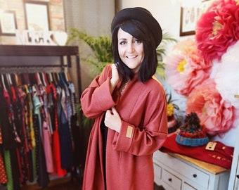 "Limited Edition MEKO® ""Largy"" Wool Coat Women Rust Red Brick Cardigan Coat"
