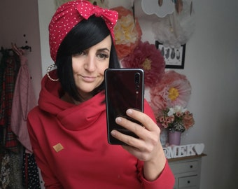 "MEKO® ""Mancha"" Hoodie Women's Red Oversize Long Sleeve Hooded Sweater"