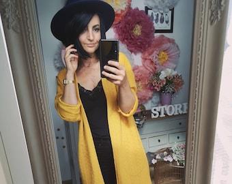 "MEKO® ""Lujasi"" Cardigan in knitted optics women mustard yellow calf length"