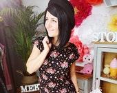 MEKO quot Brisy quot shirt dress women black floral dots gold color summer dress mini dress short sleeve teadress holiday