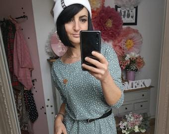 "MEKO® ""Manchy"" Dress Women's Mint White Polka Dots Oversize Long Sleeve"