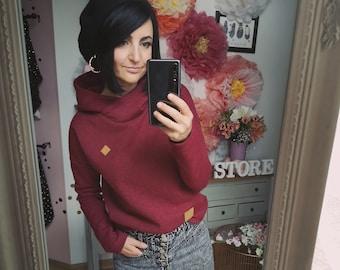"MEKO® ""Mancha"" Hoodie Women's Wine Red Oversize Long Sleeve Hooded Sweater"