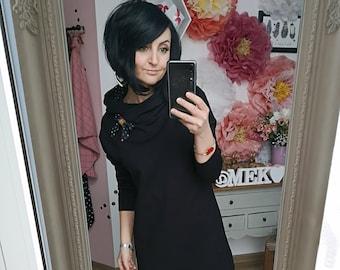 """MEKO® """"Manchot"""" Hoodie Dress Women's Black Confetti Dots Oversize Long Sleeve Hoosweater Longhoodie"""