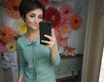 "MEKO® ""Bolovy"" Longsleeve with Bow, Ladies, Mint, Long Sleeve Shirt"