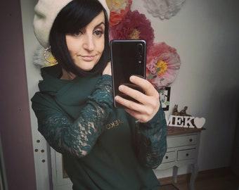 """MEKO® """"Schickmancha"""" Hoodie with lace sleeves, ladies, green long sleeve hooded sweater"""