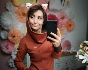 """MEKO® """"Florohra"""" hoodie with ears, fox, ladies, orange and brown"""