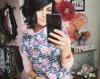 "MEKO® ""Mancha"" Hoodie Women's Pink Blue Flowers Oversize Long Sleeve Hooded Sweater"