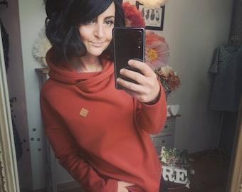 "MEKO® ""Mancha"" Hoodie Women's Burned Orange Oversize Long Sleeve Hooded Sweater"