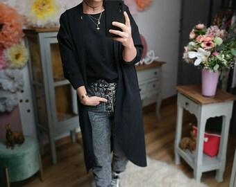 """MEKO® """"Lujasi"""" light cardigan, ladies, black, calf length"""