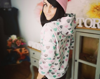 "MEKO® ""Mancha"" Hoodie Women's Grey Pink Heart Oversize Long Sleeve Hoodie"