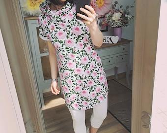 """MEKO® """"Genyal"""" Hoodie Dress with Roses, Ladies, White, Pink"""