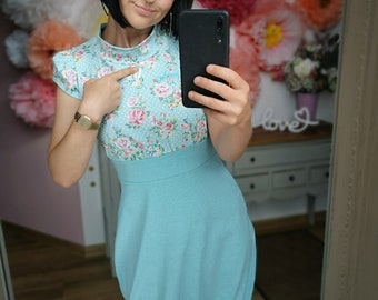 """Last pieces Gr. S MEKO® """"April"""" balloon dress with stand-up collar, ladies, turquoise with flowers"""
