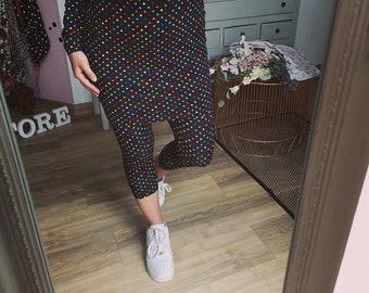 "MEKO® ""Shorty"" Leggings Women's Points Black Confetti Capri"
