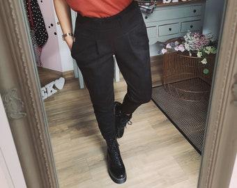 "MEKO® Pants ""Nicypants"" Women's Black Suede Imitation Carrot Pants with High Waist Highwaist Waist Fold Pants"
