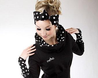 "MEKO® ""Leny"" dress black ladies long sleeve dotted highneck hooded dress swea dress"
