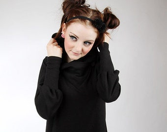 "MEKO® ""Chrisy"" Dress A-shaped women's black poncho jacket hooded jacket"