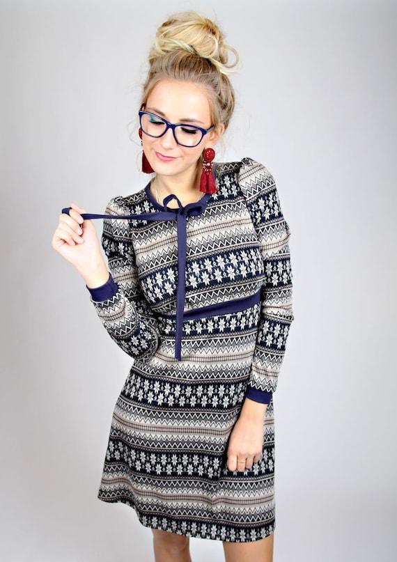 MEKO perly Dress ladies long sleeve blue Norwegian pattern loop