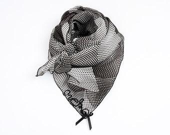 MEKO® Scarf Neck Scarf Women's Black Dots Makeshift Masks