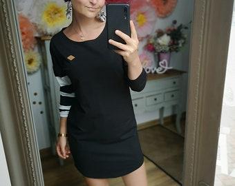 "MEKO® ""Manchy"" dress with striped sleeve, ladies, black, long sleeve"