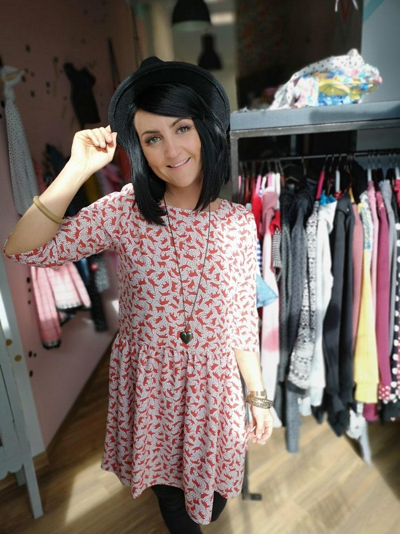 MEKO® Gypsy Kleid Damen Weiß Rostfarben Katzen | Etsy