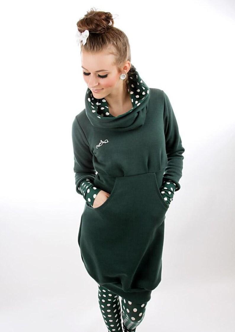 L MEKO Leny Dress Green Ladies Long Sleeve Dots Highneck Hooded Dress S Gr