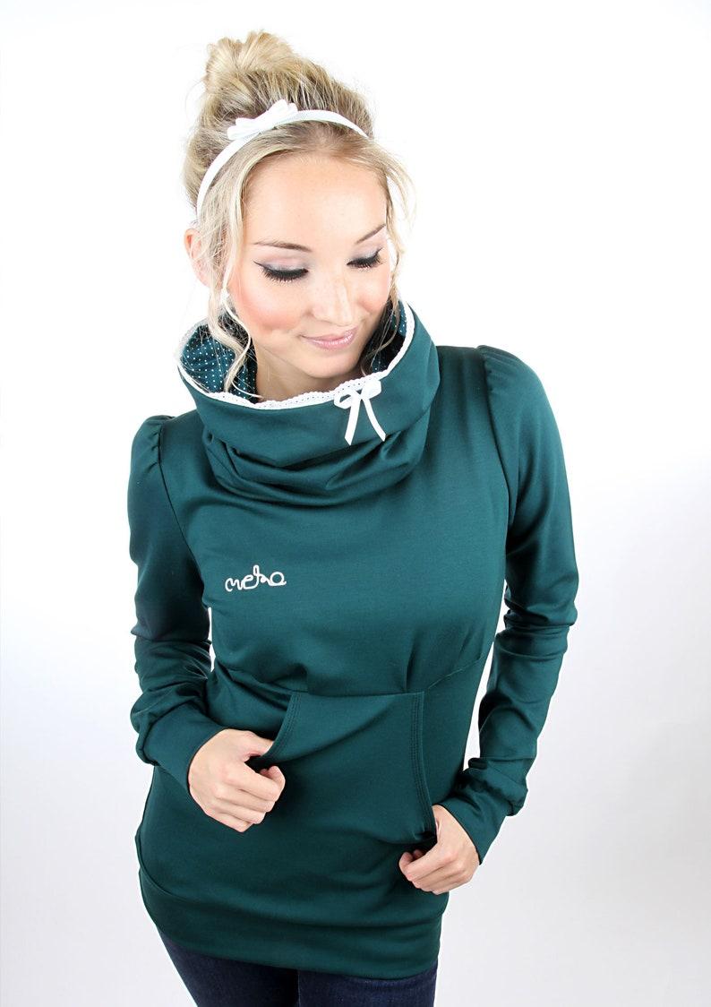 MEKO Caryna hoodie Green ladies lace Highneck