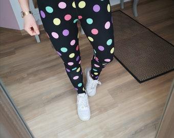 "MEKO® Leggings Ladies, Black with Colorful Dots, Rockabilly ""Eggi"""