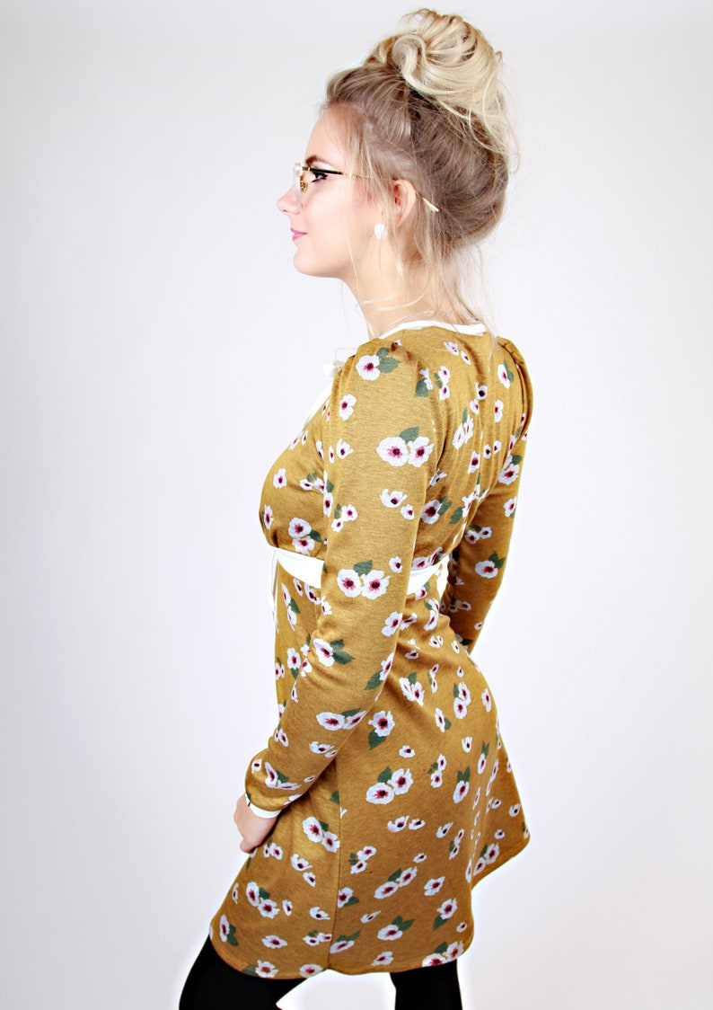 MEKO® Perly Kleid Damen langarm Gelb Blumen Creme | Etsy