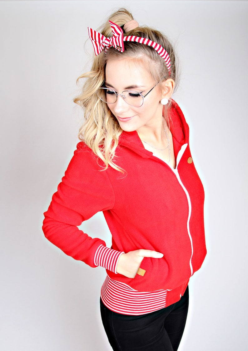 MEKO Frozy Fleece jacket women/'s Red jacket Hooded Jacket Maritime
