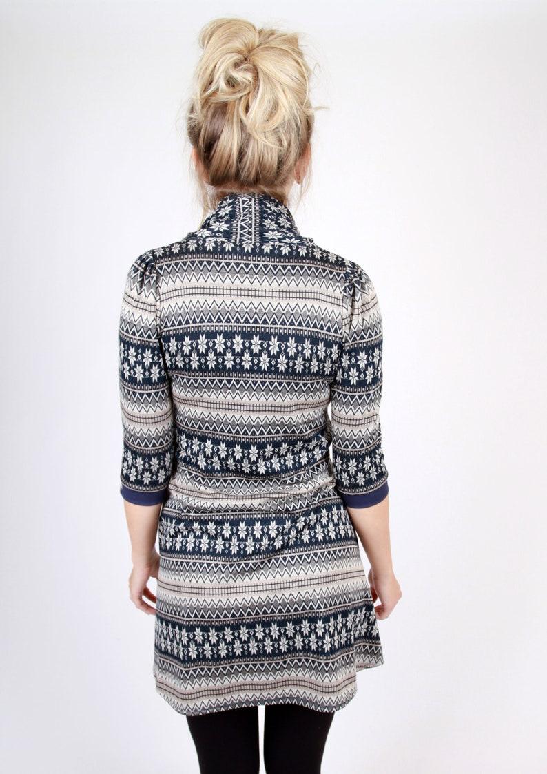MEKO Loli Dress A-Line Women/'s Blue Norwegian Pattern Midsleeve Collar Highneck