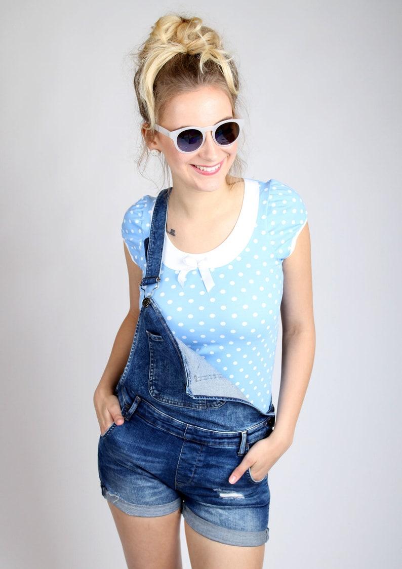7bc5c32704 MEKO Lola Shirt Bubikragen Light Blue Women'S   Etsy