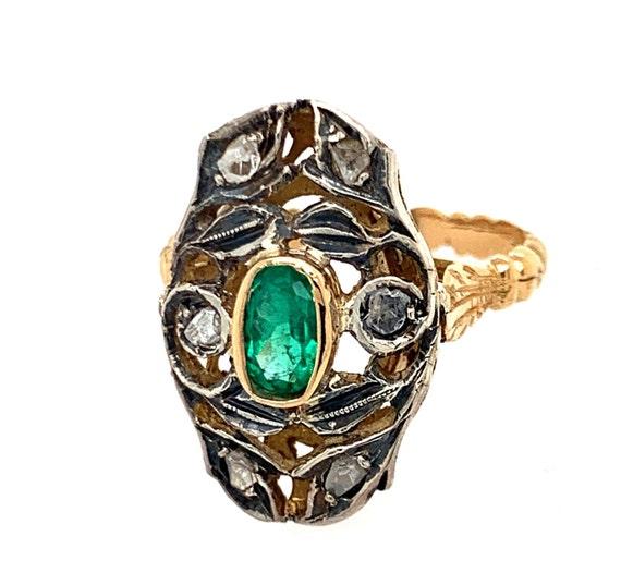 Emerald Filigree Ring, Emerald Ring, Emerald Gold