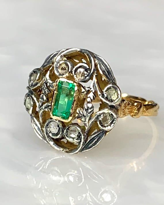 Emerald Diamond Ring, Emerald Cut Emerald, Rose cu