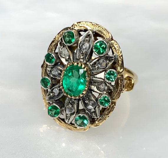 Oval Emerald Ring, Vintage Emerald Ring, Rose cut