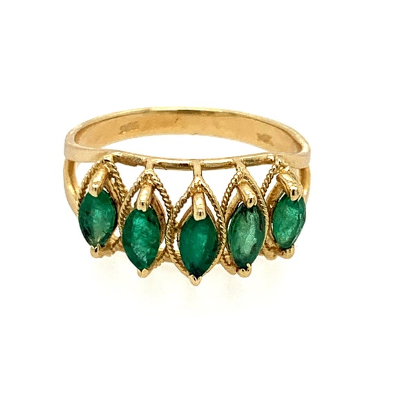 Emerald vintage ring| Emerald marquise ring| Emera