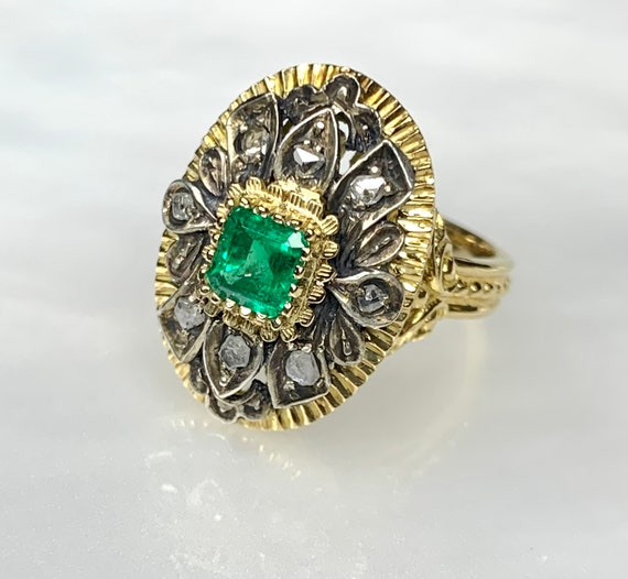 Emerald Diamond Ring, Rose Cut Diamond Ring, Emera