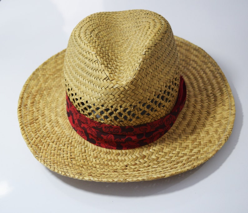 7d15e07e2f8b Vintage Straw Hat with Mickey Mouse Band Size Medium   Etsy