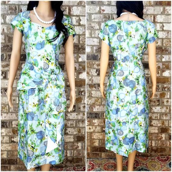 Vintage 1950's Floral Handmade Blue & Green Dress.