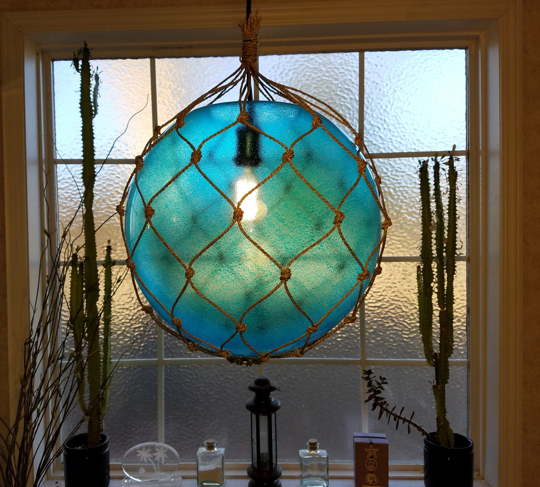 Large Nautical Light Pendant Aqua Blue Tiki Fishermans | Etsy